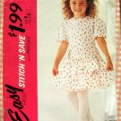 Little Girl's 90s Dropped Waist Dress McCall's 5221 Vintage Sewing Pattern