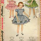 Toddler Girl's 50s Puffed Sleeve Dress Vintage Pattern Simplicity 3868