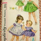Toddler 50s Puffed Sleeve Dress, Yoked Pinafore and Panties Vintage Pattern Simplicity 3807