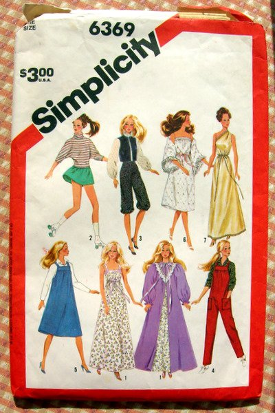 """80s 11.5""""  Fashion Doll Clothes Simplicity Sewing Pattern 6369"""