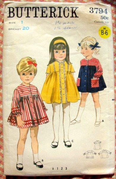 Butterick 3794 Vintage Sewing Pattern Toddler Dress