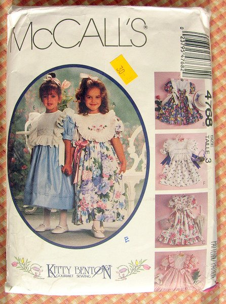 Toddler's 90s Party Dress McCall's 4768 Vintage Sewing Pattern
