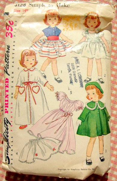 """Simplicity 4128 Wardrobe for 14"""" Toni Doll Vintage 50s Sewing Pattern"""