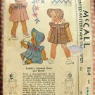 Toddler Girl's Smocked Dress and Bonnet Sz 1 McCall 1164 Vintage Sewing Pattern