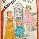 Toddler Girl's Maxi  Dress Simplicity 5470 Vintage 80s Sewing Pattern