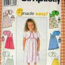 Girl's Sundress Bolero Jacket & Purse Pattern Simplicity 9051 Sewing Pattern