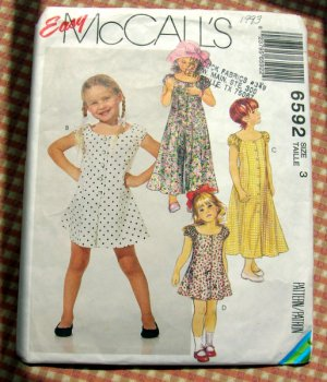 Toddler's Jumpsuit, Romper and Dress McCall's 6592 Sewing Pattern