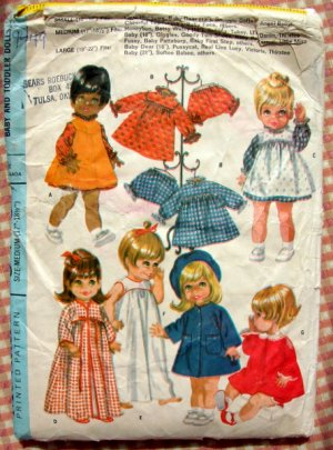 """17.5"""" to 18.5"""" Baby Doll Clothing Vintage Sewing Pattern McCall's 9449"""
