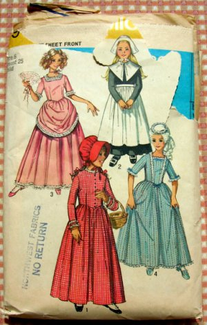 Revolutionary War or Pilgrim Costume Vintage 70s Sewing Pattern Simplicity 9136 Girls size 6
