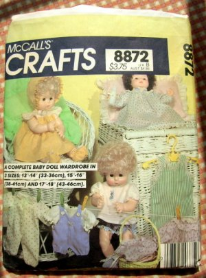 """Baby and Toddler 13"""" to 18"""" Doll Clothes Sewing Pattern McCall's 8872"""