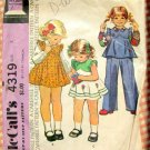 Toddler's Pinny Dress, Top and Pants McCall's 4319 Vintage Sewing Pattern