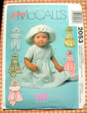 Baby Girl's Dress, Romper and Bonnet. McCall's 2053 Sewing Pattern