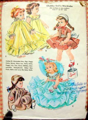 """McCall's Vintage 50s Sewing Pattern 2084 11"""" Chubby Doll's Wardrobe"""
