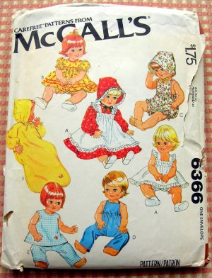 """McCall's Vintage 70s Sewing Pattern 6366 15"""" Baby Doll's Wardrobe"""