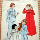 Girls Pajamas and Nightgown Vintage Sewing Pattern Butterick 6199