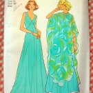 Misses Maxi Dress and Poncho Vintage 70s Pattern Simplicity 7183