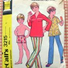 Boys 70s Swim Trunks, Pullover Shirt and Pants McCall's 3215 Vintage Sewing Pattern