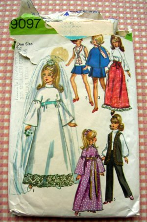 """70s 11.5""""  Fashion Doll Wedding Clothes Simplicity Sewing Pattern 9097"""