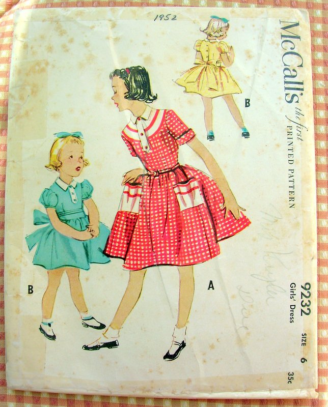 Girl S 1950s Full Skirted Dress Vintage Sewing Pattern