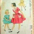 Girl's 1950s Full-skirted Dress Vintage Sewing Pattern McCalls 9232
