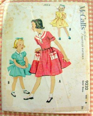 Girl S 1950s Full Skirted Dress Vintage Sewing Pattern