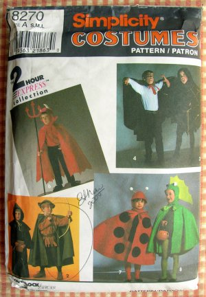 Kids' Halloween Costumes Simplicity 8270 Sewing Pattern