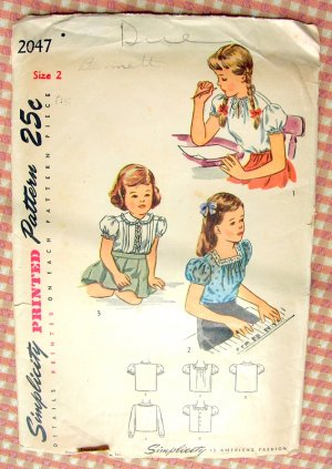 Toddler Girl's 1940s Puffed Sleeve Blouse Simplicity 2047 Vintage Sewing Pattern