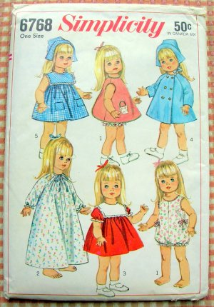 """18""""  Doll Clothing Vintage 60s Sewing Pattern Simplicity 6768"""