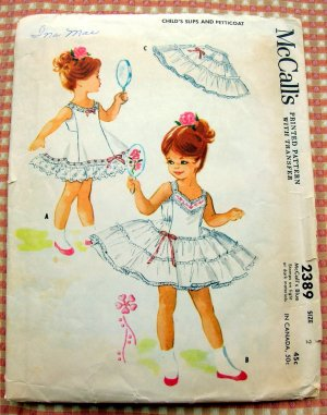 Toddler Pageant Petticoat and Bouffant Slip Vintage Sewing Pattern McCall's 2389