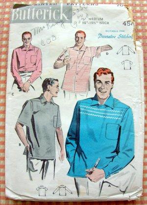 Mens Atomic Era Sport Shirt Vintage 50s Sewing Pattern Butterick 7673