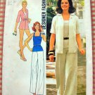 Misses Shirt-Jacket, Shorts, Wide-Leg Pants and Top Vintage 70s Pattern Simplicity 6970