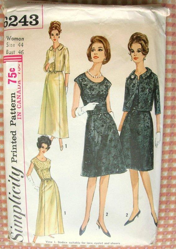 Womans Plus Size Formal Evening Dress Simplicity 6243 Vintage 60s