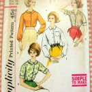 Misses Blouse Vintage 60s Sewing Pattern Simplicity 4606