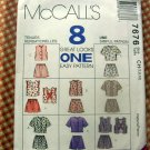 Girls Summer Shorts and Tops McCalls 7676 Vintage Sewing Pattern