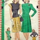 Misses 1940s WW II Era Top and Skirt  Vintage Sewing Pattern Hollywood 1721