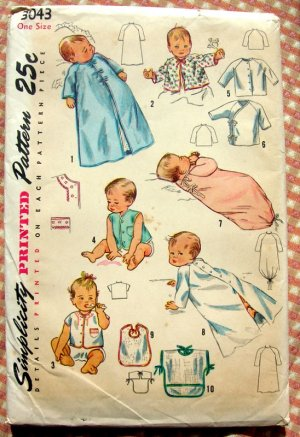 Layette with Flower Transfer Vintage Sewiing Pattern Simplicity 3043