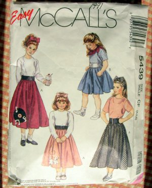 Girls 50s Sock Hop or Grease Costume McCalls 5439 Sewing Pattern