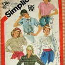 Misses Shirts 1980s Vintage Sewing Pattern Simplicity 5663