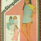 Girls' Nightshirt Vintage 70s Sewing Pattern Simplicity 9788