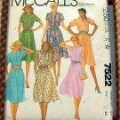 McCall's 7522 Plus Size Shirtwaist Dress Vintage 80s Sewing Pattern
