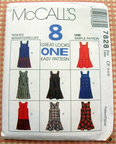 Girl's Jumpers Vintage Sewing Pattern McCalls 7828
