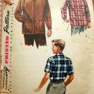50s Vintage Sewing Pattern Boy's Lumberjack Shirt or Jacket Simplicity 4100 Size 10