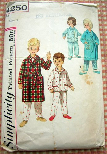Childs Robe and Pajamas Vintage 60s Sewing Pattern Simplicity 4250