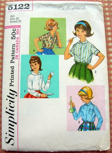 Girl's Blouses Simplicity Vintage Sewing Pattern 5122