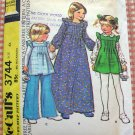 Girl's Maxi Dress and Pants Vintage 70s Sewing Pattern McCalls 3744