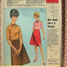 60s A-Line Skirt and String-Tie Blouse Vintage Sewing Pattern McCalls P55