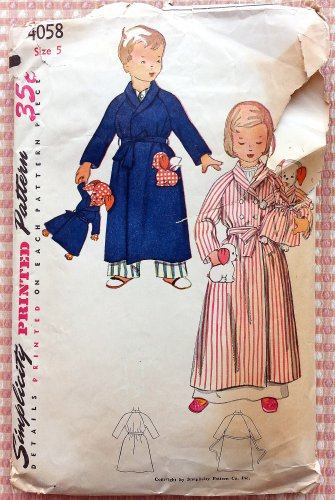 Robe and Puppy Doll Vintage Sewing Pattern Simplicity 4058 Size 5