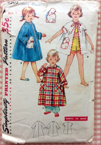 Child's Robe in Three-Lengths Vintage Sewing Pattern Simplicity 4503 Size 1