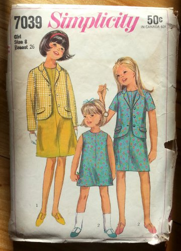 Girl's Jacket and A-Line Dress Sewing Pattern Simplicity 7039