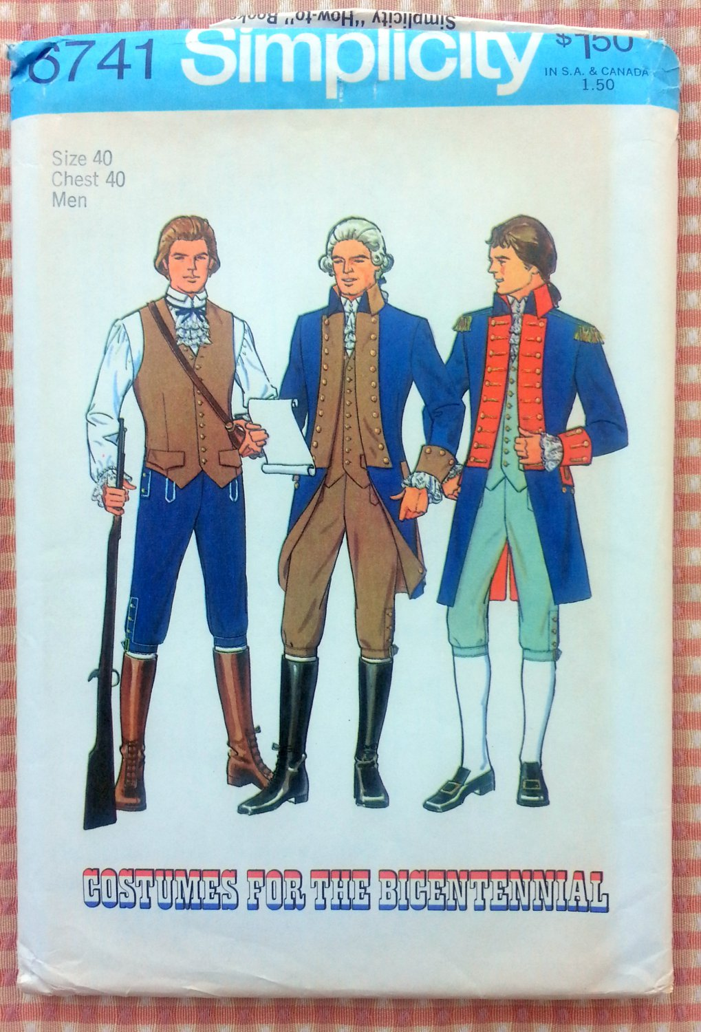 Revolutionary War Costume Vintage 70s Sewing Pattern Simplicity 6741